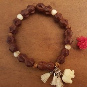 Jewelry - WOOD BEADS LUCKY ELEPHANT STRETCH BRACELET TASSELS
